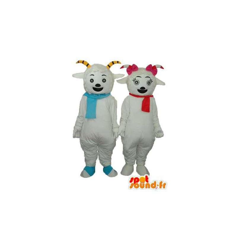 Duo de moutons blancs souriants - Personnalisable - MASFR003894 - Mascottes Mouton