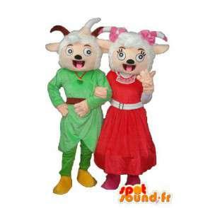 Couple de moutons bêlant de bonheur - Personnalisable - MASFR003895 - Mascottes Mouton