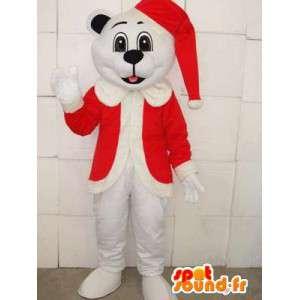 Μασκότ Χριστουγεννιάτικο λευκό αρκουδάκι με κόκκινο καπάκι - βελούδινα για διακοπές