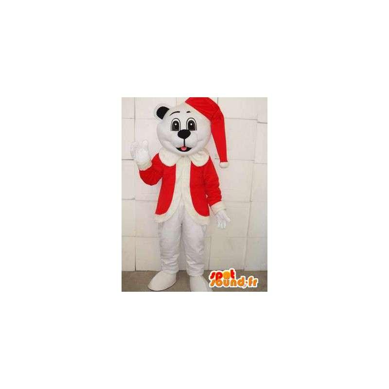 Μασκότ Χριστουγεννιάτικο λευκό αρκουδάκι με κόκκινο καπάκι - βελούδινα για διακοπές - MASFR00302 - Αρκούδα μασκότ