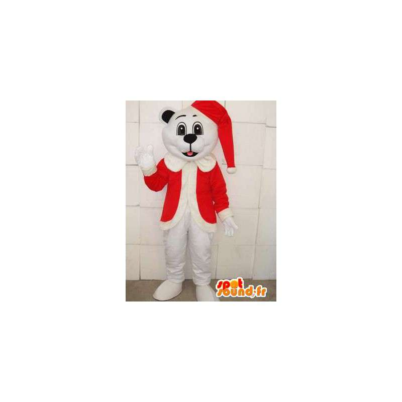 Polar bear mascot with red hat of Christmas - Festive Plush - MASFR00302 - Bear mascot