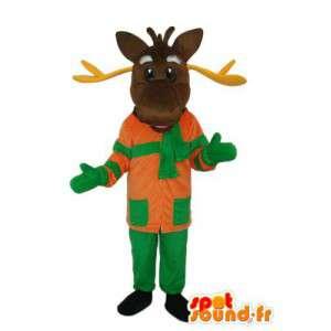 Costume representando uma rena segurando verde e laranja