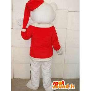 Mascota del oso polar con el sombrero rojo de Navidad - festiva de la felpa - MASFR00302 - Oso mascota
