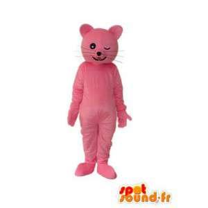 Růžová kočka maskot - kočka kostým růžový medvídek