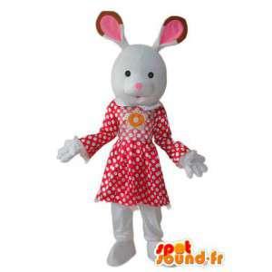 Valkoinen pupu puku punainen valkoinen mekko - Bunny Costume  - MASFR003923 - maskotti kanit