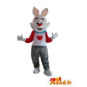 Weiße Kaninchen-Kostüm weiß roten T-Shirt - Bunny-Kostüme - MASFR003925 - Hase Maskottchen