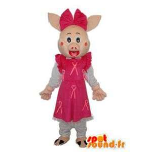 Mascot freche rosa Kleid - Kostüm Schlampe gefüllt - MASFR003937 - Maskottchen Schwein