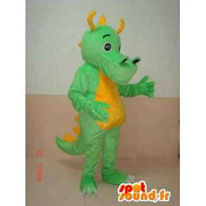 Grün Triceratops-Dinosaurier-Maskottchen gelben Hörnern - Kostüm dino