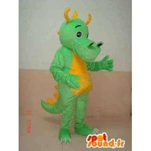 Mascotte Dinosaure tricératops vert à cornes jaunes - Costume dino