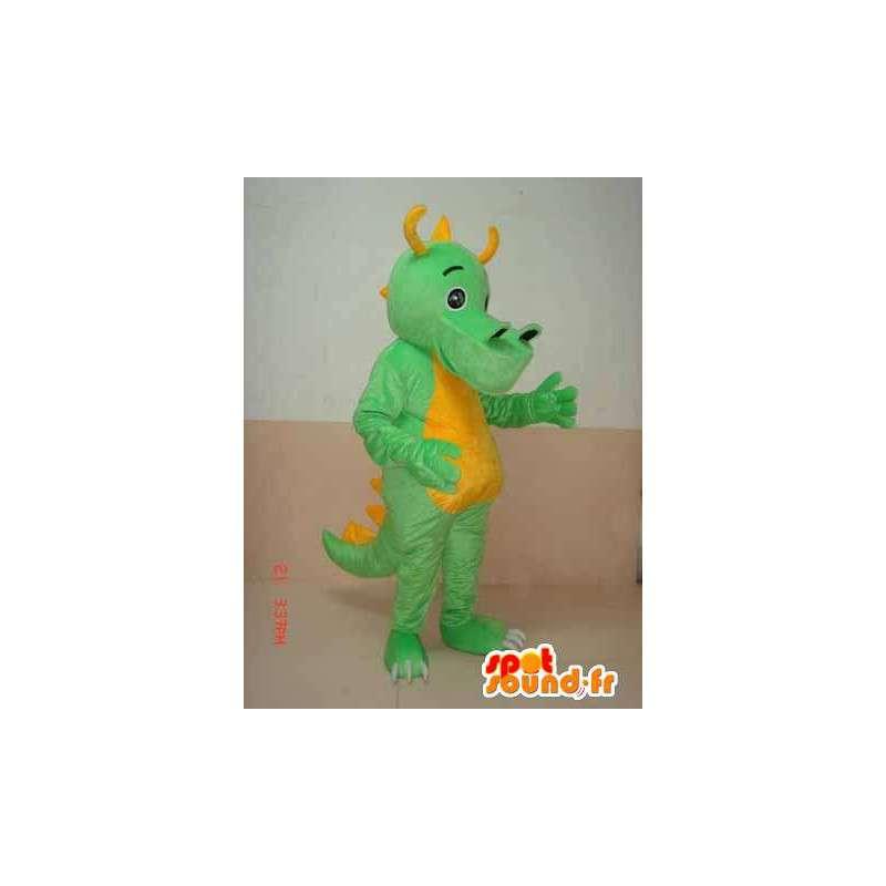 Mascot Dinosaur vihreä Triceratopsin keltainen sarvet - dino puku - MASFR00304 - Dinosaur Mascot