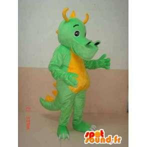 Triceratops Dinosaur mascot green yellow horns - Costume dino - MASFR00304 - Mascots dinosaur