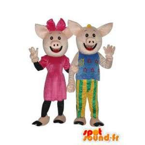 Paar-Maskottchen gefüllt Schwein - Schwein Kostüm - MASFR003941 - Maskottchen Schwein