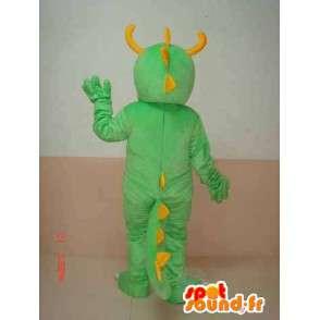 Grün Triceratops-Dinosaurier-Maskottchen gelben Hörnern - Kostüm dino - MASFR00304 - Maskottchen-Dinosaurier