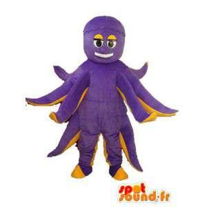 Mascot pulpo de peluche púrpura - traje de pulpo amarillo