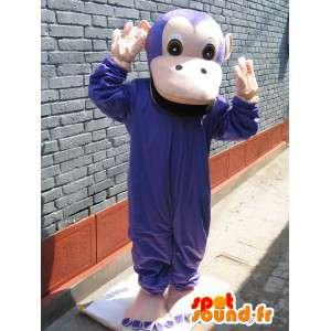 Mascot macaco roxo clássico - traje do macaco da selva de animais