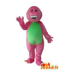 Roze groene krokodil mascotte - roze krokodilkostuum