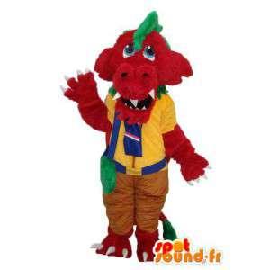 Maskot flerfarget krokodille - krokodille drakt