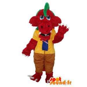 Mascotte de crocodile rouge crête verte – costume de crocodile