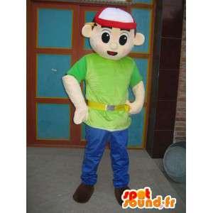 キャップ付きマスコットボーイグリーンTシャツ-エクスプレスアクセサリー-MASFR00306-男の子と女の子のマスコット