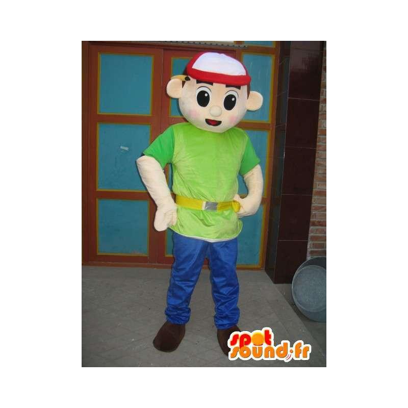 キャップ付きマスコット少年緑のシャツ - 特急アクセサリー - MASFR00306 - マスコット少年少女