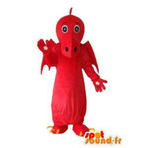 Mascotte de dragon rouge uni – costume de dragon en peluche