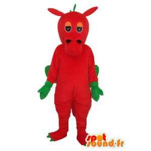 Vaaleanpunainen lohikäärme maskotti ja keltainen - lohikäärme puku teddy