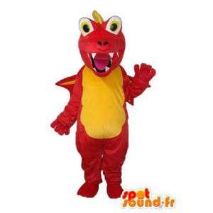 Maskotti punainen ja keltainen lohikäärme - lohikäärme puku