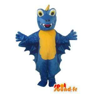 Dragão mascote azul amarelo de pelúcia - terno dragão