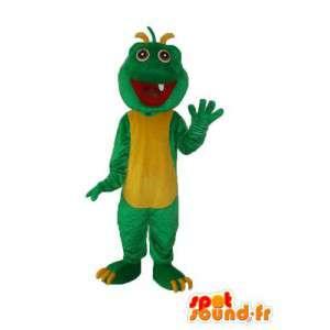 Dragão mascote verde amarelo de pelúcia - terno dragão