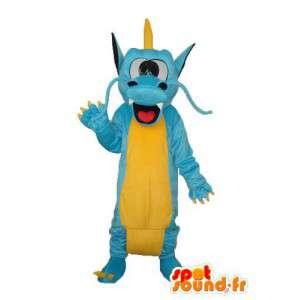 Céu Dragão mascote azul e amarelo - traje do dragão