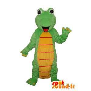 Dragão mascote amarelo e vermelho - traje do dragão verde