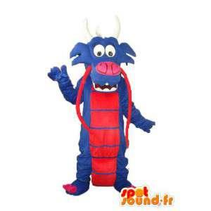 Mascote dragão azul vermelho - dragão traje de pelúcia