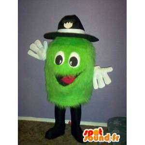 Mascotte petit monstre vert clair à chapeau - costume de peluche