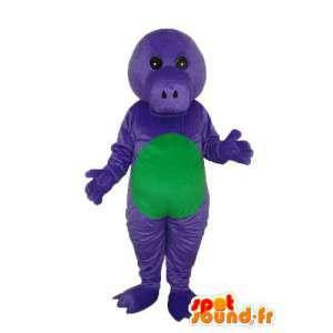 緑の紫色の豚マスコット - 変装のブタのぬいぐるみ