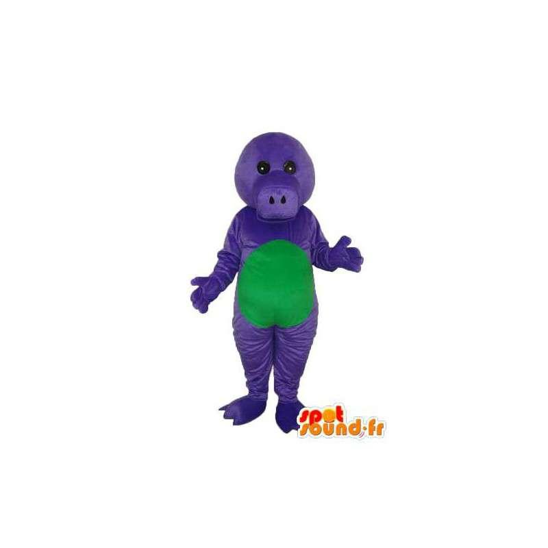 Grøn lilla gris maskot - plys gris kostume - Spotsound maskot