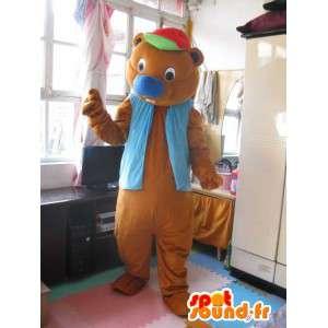 Mascotte Ours fun à casquette avec gilet bleu - Peluche animale