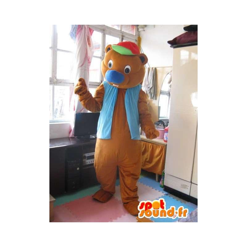 Bär Maskottchen Spaß mit blauen Weste Kappe - Tier-Plüsch - MASFR00309 - Bär Maskottchen