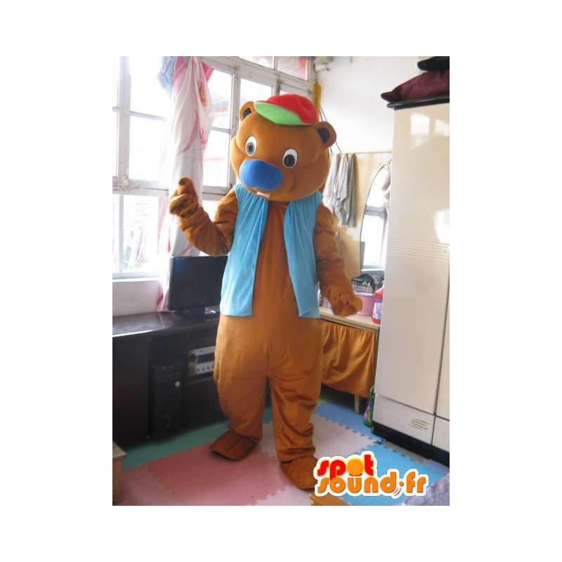 Tenga diversión mascota para coronar con chaleco azul - los animales de peluche - MASFR00309 - Oso mascota