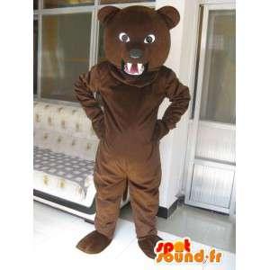 Mascotte ours marron foncé classique et grognon - Peluche ourson