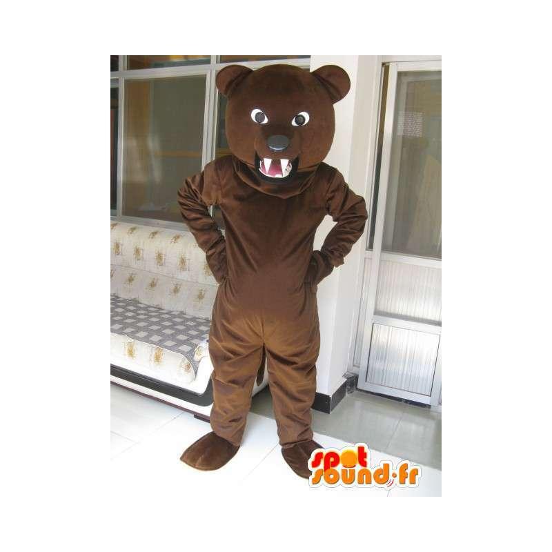 Classic dark brown bear mascot and grumpy - Plush Bear - MASFR00310 - Bear mascot