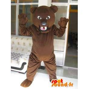 Classico marrone scuro orso mascotte e scontroso - Bear Plush - MASFR00310 - Mascotte orso