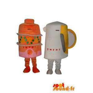 Doppel Maskottchen Kuchen und Glas - Disguise Artikel - MASFR004032 - Maskottchen von Objekten