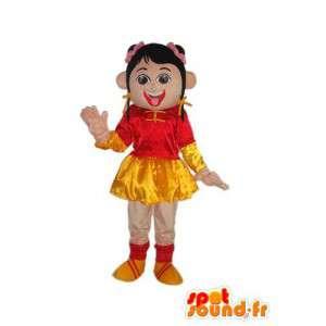 Meisje mascotte in rode en gele kleur - karakter kostuum - MASFR004037 - Mascottes Boys and Girls