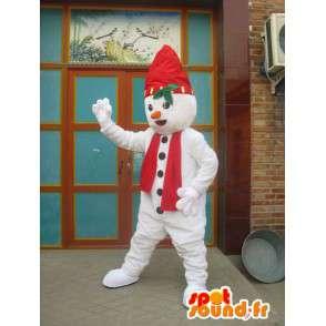 Mascotte lutin des neige rouge et blanc avec bonnet et écharpe - MASFR00199 - Mascottes Noël