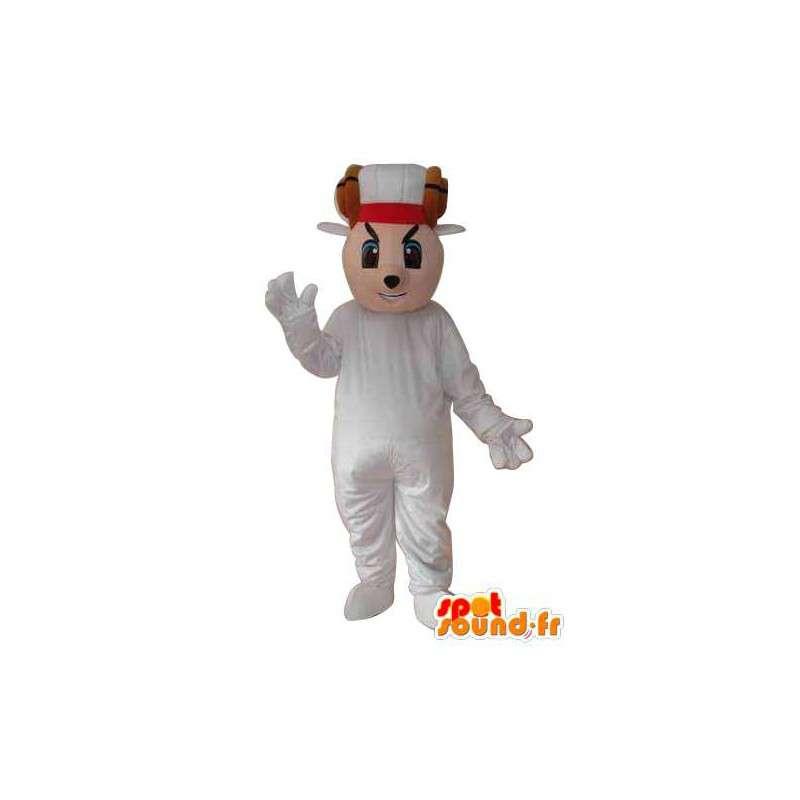 Mascotte de personnage souris beige chemise vêtement blanc - MASFR004044 - Mascotte de souris