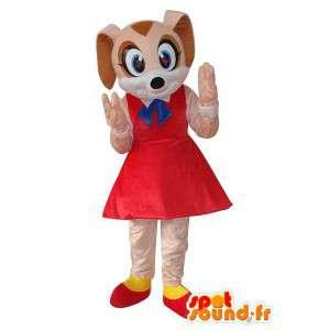 Mascotte de personnage souris beige, robe rouge
