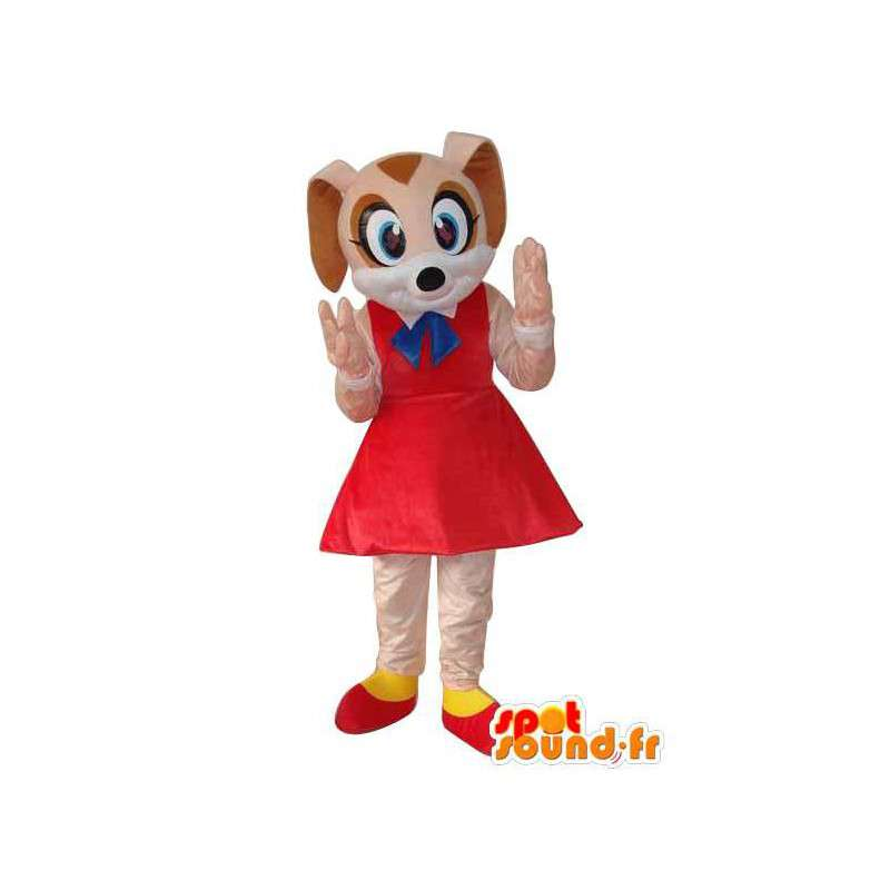 Mouse mascot character beige, red dress - MASFR004045 - Mouse mascot
