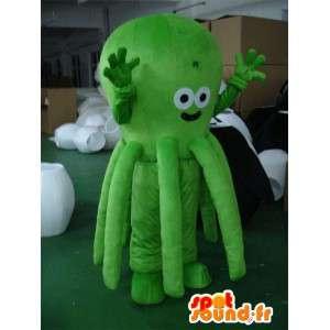 Maskotti vihreä mustekala - Vihreä Octopus - merieläinten puku