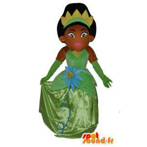 Mascotte princesse africaine avec jolie robe verte