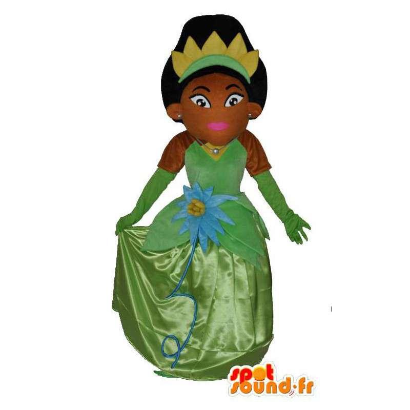 Afrikanische Prinzessin Maskottchen schönen grünen Kleid - MASFR004064 - Maskottchen-Fee